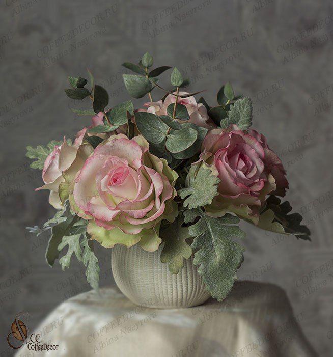 Интерьерная композиция из фоамирана: розы и эвкалипт, фото №2