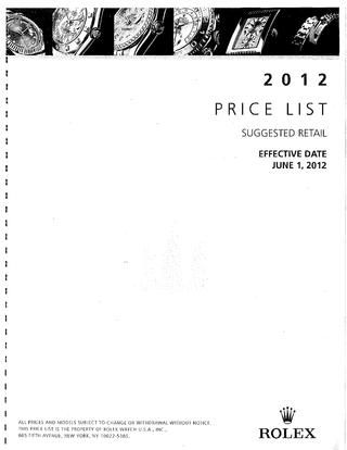 Rolex price list june 1 2012