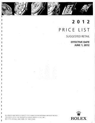 Rolex price list june 1 2012