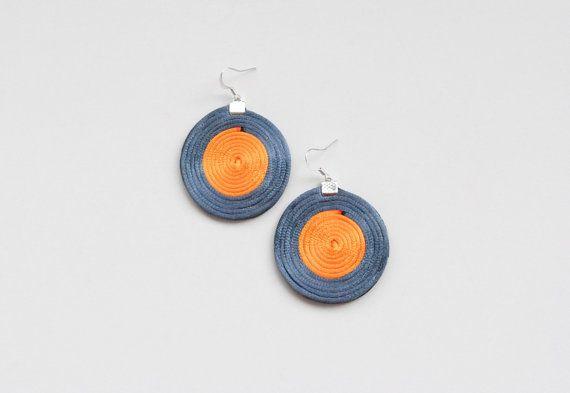 Grey and orange spiral earrings geometric circle by elfinadesign