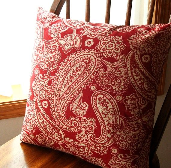 Red Paisley  Pillow  Cover  18 inch with zipper by MaryLittfin, $16.00