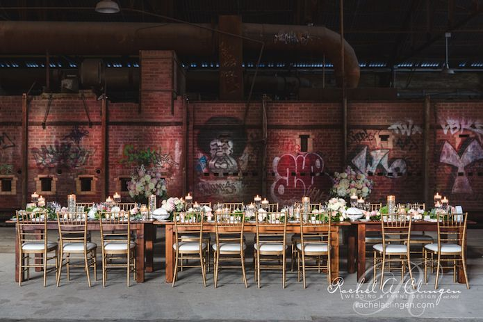 Harvest tables for this rustic wedding at Evergreen Brickworks in Toronto. photo by @wanderingmirza