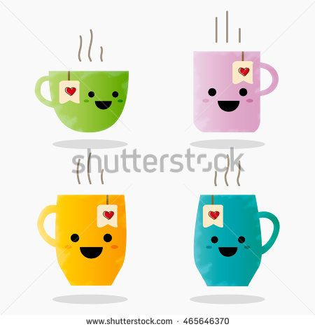 Cute cup set. Coffee and tea with cheeks and eyes. Color beautiful cups character in flat designs with cute cartoon faces. Vector illustration.