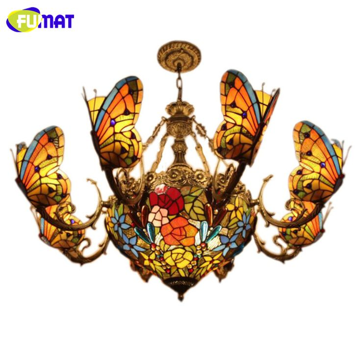 FUMAT Stained Glass Chandeliers Creative Art Glass Butterfly Lamp Bedroom Hotel Club Light Fixtures Glass Art Lightings