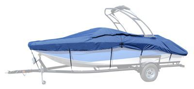 """Taylor Made Trailerite Semi Custom Boat Cover for Euro Style V-Hull Runabout w/ Wakeboard Tower I/O - Pacific Blue - 19'5""""-20'4"""""""