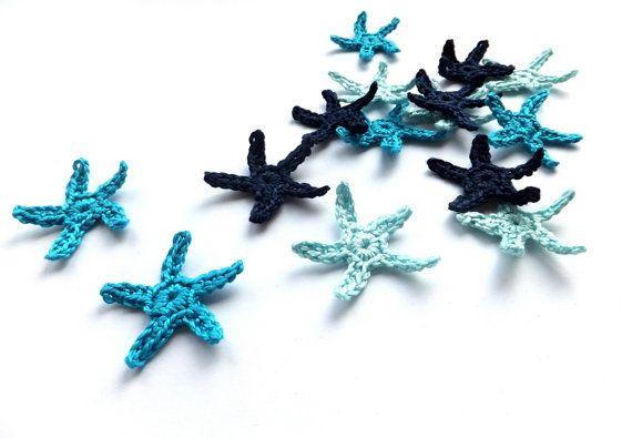Maglia applique di stelle marine, piccole stelle di mare blu - decorazioni di nozze spiaggia, favori, blu stelle abbellimenti scrapbooking /set 15 /
