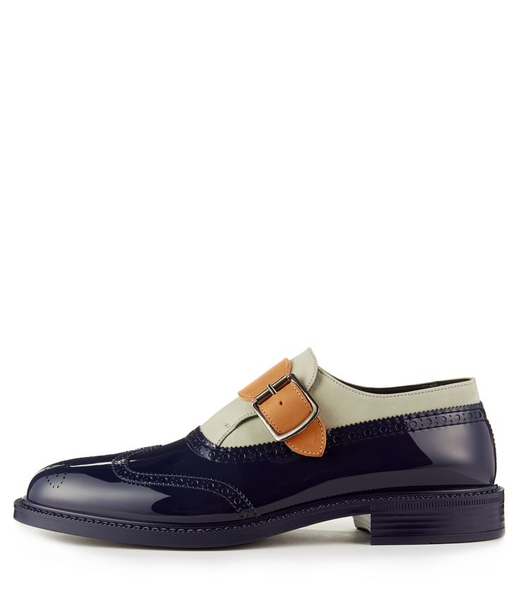 This is a beut. Single Monkstrap in midnight blue and cream with contrast buckle. This is a beut. The profile and colour combo conjurs up nothing so much as a vintage sports car.