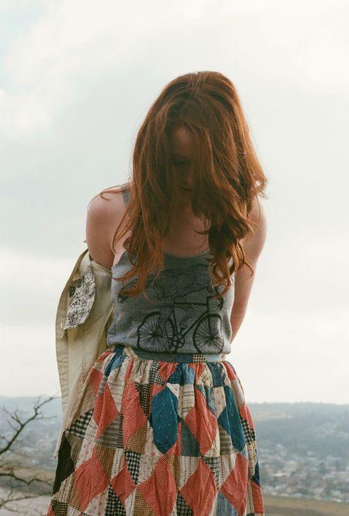 bike tank + patchwork skirt
