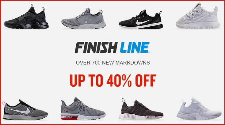 Online Only! Over 700 new markdowns Up to 40% #Off.  Store: #FinishLine Scope: Entire Store Ends On : 04/13/2018  Get more deals: http://www.geoqpons.com/Finish-Line-coupon-codes  Get our Android mobile App: https://play.google.com/store/apps/details?id=com.mm.views  Get our iOS mobile App: https://itunes.apple.com/us/app/geoqpons-local-coupons-discounts/id397729759?mt=8