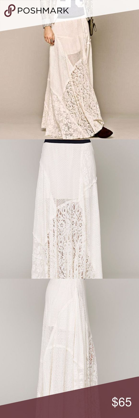 Free People FP1 Patchwork Lace Maxi Skirt RARE Patchwork maxi skirt Ivory  80% cotton * 20% nylon Made in India Free People Skirts Maxi