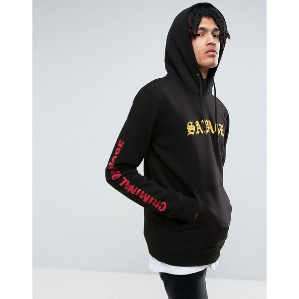 Criminal Damage Hoodie In Black With Savage Print (240 SAR) ❤ liked on Polyvore featuring men's fashion, men's clothing, men's hoodies, black, mens cotton hoodies, mens graphic hoodies, mens tall hoodies, mens sweatshirt hoodies and mens patterned hoodies