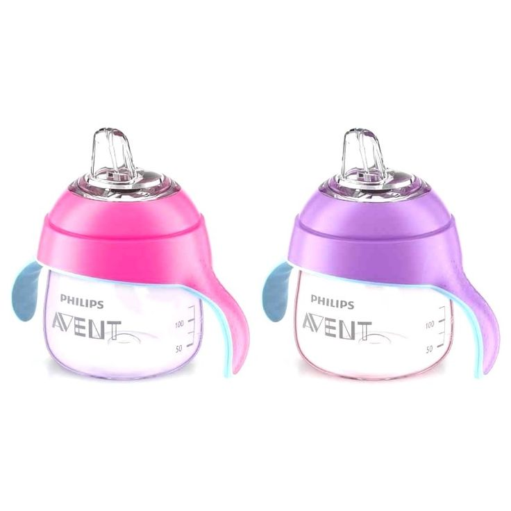 Transition from bottle to cup seamlessly with these beautiful penguin-designed sippy cups in vibrant pink and purple. Finished off with soft, easy-to-grip handles and an angled, leak-free spout for ea