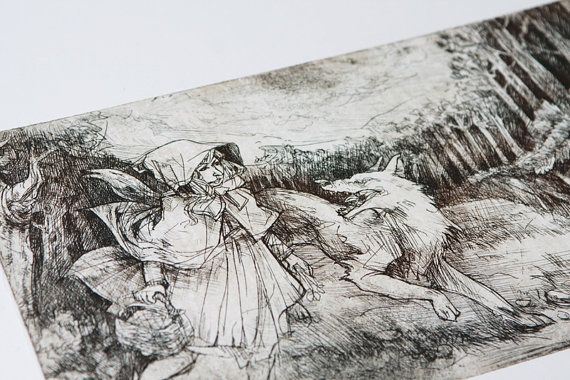Little red riding hood | Original etching print