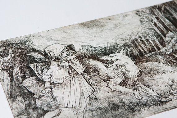 Little red riding hood | Original etching print