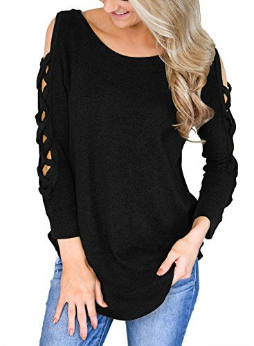 aca32efe360 HOTAPEI Womens Long Sleeve Criss Cross Cut Out Sleeves Tops and Blouses  Casual Loose T Shirts  tops  tees  fashion  tshirts  tunictop  womens