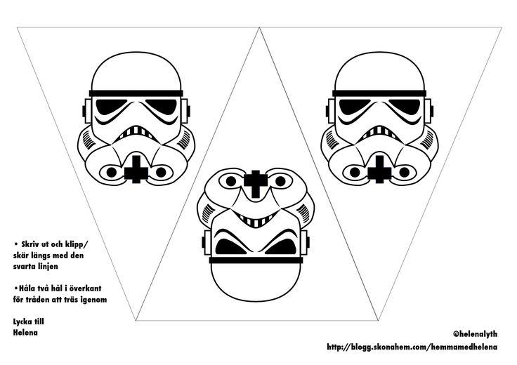 Flaggspelet från Star Wars-kalaset gjorde succé och då jag har ritat dem och har som utskrifter så lägger jag upp dem här för den som vill ha. Jag gjorde det väldigt enkelt för mig med svarta prints på färgade papper. Två hål i överkant att trä tråd igenom. Ingen vimpel att behöva limma ihop. MEN det blir ju då bara print och färg på en sida och Darths svarta vimpel blir vit på baksidan. Så, jag gjorde även en vimpel att vika ihop, för er som vill ha det istället. Allt för er, mina kära…