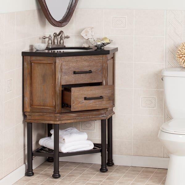 Harper Blvd Ballard Granite Top Corner Bath Vanity Sink Bathroomideas Corner Bathroom Vanity Corner Bath Corner Sink Bathroom