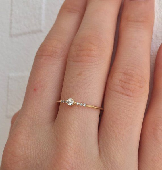14K Gold Ring Diamond Engagement Ring Solitare Diamond Ring