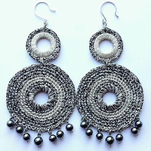 Fashion Womens Jewelry Handmade Earrings with Metallic Yarn Plated earring hook