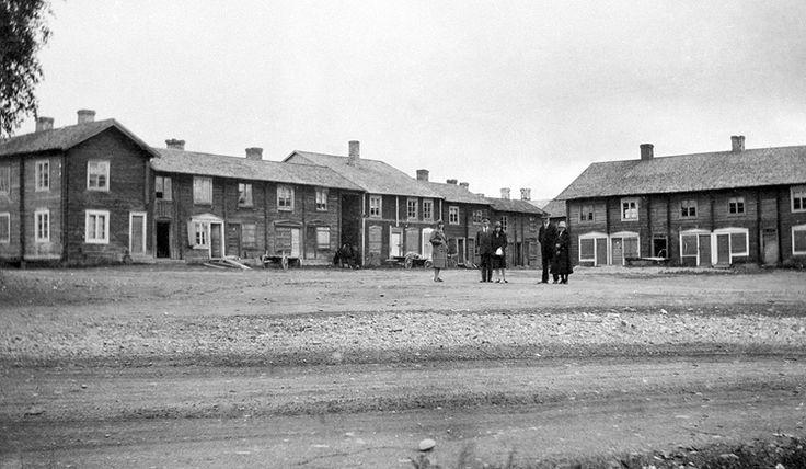 Kyrkstaden i Burträsk år 1928. Före branden.