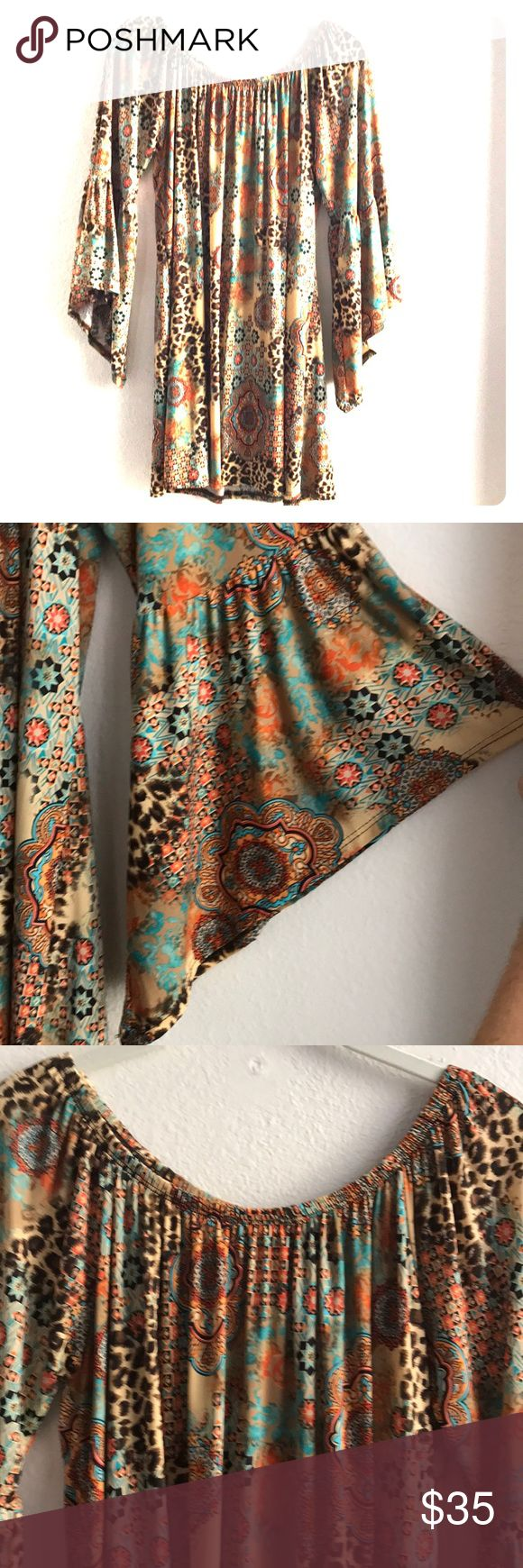 """Festival Dress Bell sleeve boho dress perfect for festivals! Turquoise, brown and orange design by Yahada in a size medium. Made of 92% polyester and 8% spandex. Hand or machine wash cold water. Measures 30"""" shoulder to hem. Only worn once! Yahada Dresses Midi"""
