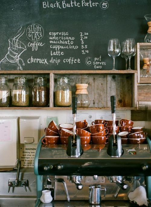 Idea to store coffee beans from different countries in seperate cookie jars. Label with blackboard stickers and place on shelves.