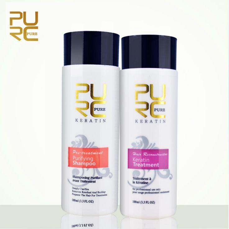 Purc выпрямление волос ремонт и выпрямить волосы повреждения продукты бразильский кератин лечение + очищающий шампунь чистый купить на AliExpress