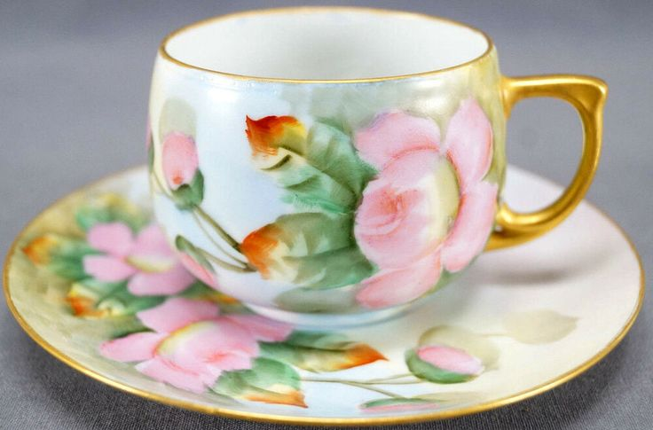 Moritz Zdekauer Hand Painted Signed Wendal Pink Roses Tea Cup & Saucer 1918 – 39