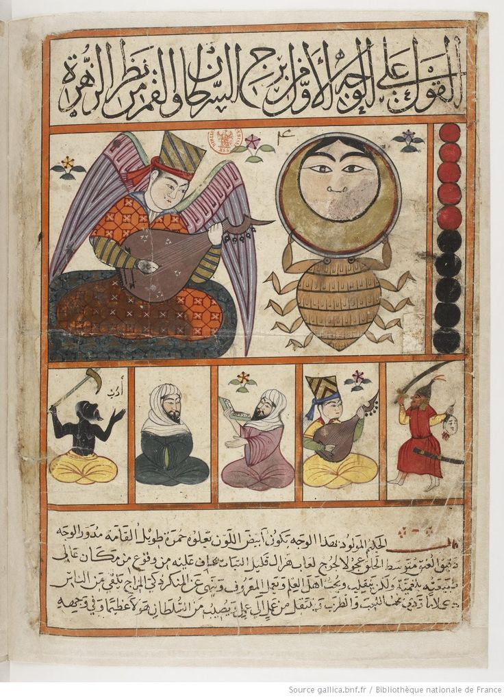 vue 30 - folio 11v, Cancer - The Book of Nativities (Kitab al-Mawalid), attributed to Persian astronomer Abu Maʿschar al-Balkḥī and was later drawn by the painter Qanbar 'Alī Shīrāzī published in 1300 AD.