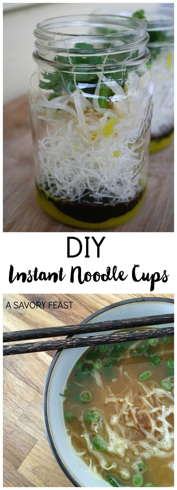 DIY Instant Noodle Cups // Need an easy, healthy lunch to make ahead? These cups are gluten free and packed with flavor!