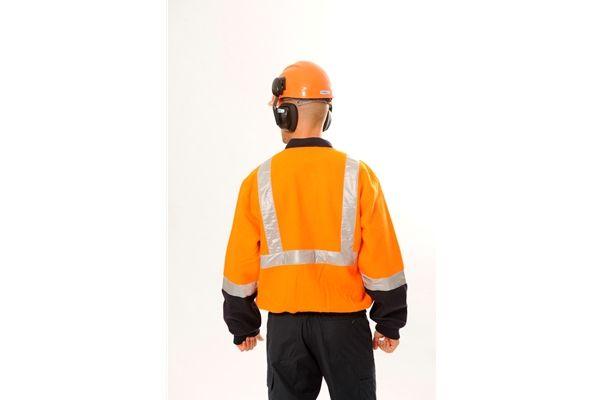 Huski Hi Visibility Wool Blend Jacket Mens Workwear 3M Tape Orange Navy New