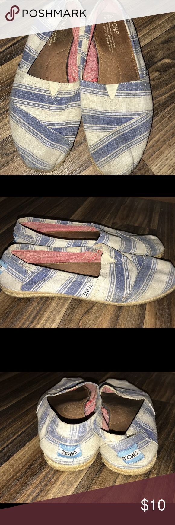 Toms Blue white shoes Size 8.5 Toms blue white shoes size 8.5, gently used condition, smoke free home, can be washed. Toms Shoes Flats & Loafers