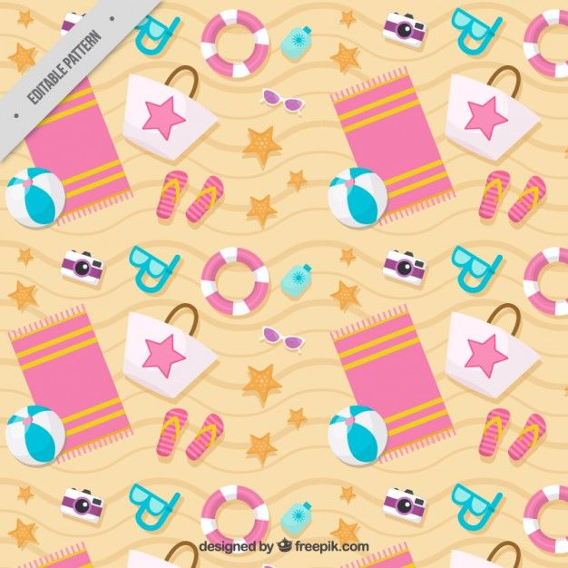 Beach accessories pattern Free Vector