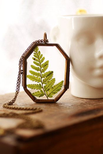 Real fern leaf necklace  glass locket  long by RubyRobinBoutique, €37.00