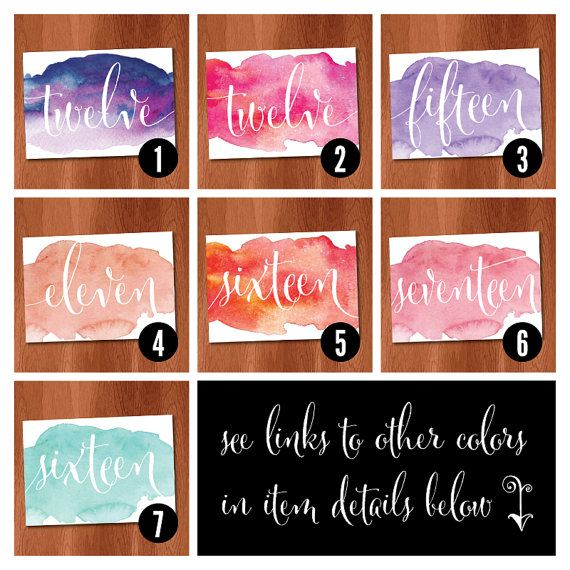 Pink Watercolor Table Numbers DIY Table by VeronicaFoleyDesign