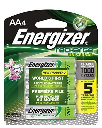 Energizer Recharge Universal 2000 mAh Rechargeable AA Batteries Pre-Charged 4 count