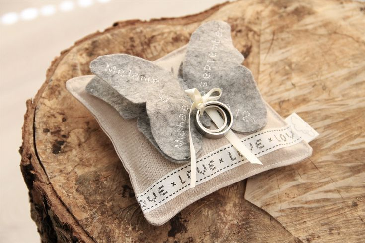 Wedding Ring pillow 'butterfly' in your favourite by MadeByMo
