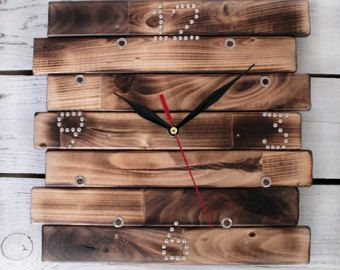 Wall Clock Square - Wooden Wall Clock - Oversized Wall Clock - Industrial Wall Clock - Large Decorative Wall Clock - Silent Clock