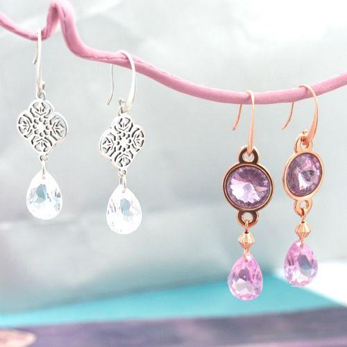 Met Rivoli punstenen en onze prachtige druppelvorm hangers maakt u schitterende oorbellen met een klassieke look!