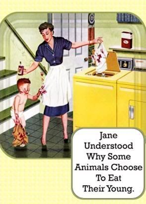 Retro Humor. Child Mother Housewife
