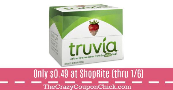 graphic about Truvia Coupons Printable titled Get Truvia Sweetener for Basically $0.49 at ShopRite (through 1/16