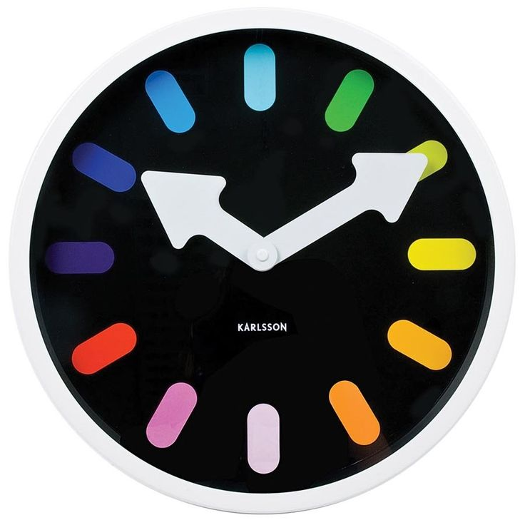 Karlsson Wall Clock Pictogram Rainbow Black 30cm - Wall Clocks - Lifestyle Lane