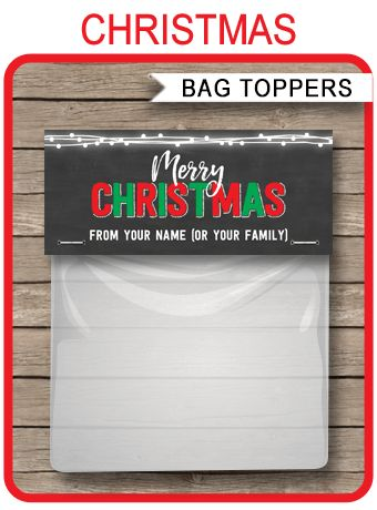 *INSTANT DOWNLOAD* Christmas Chalkboard Gift Bag Toppers template. Easily personalize the printable template at home. Download, edit & print now!