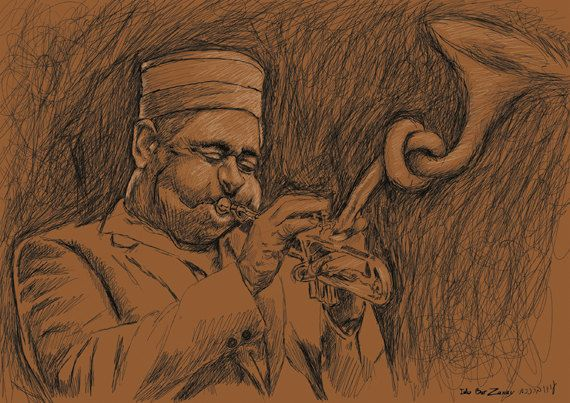 Dizzy Gillespie, jazz sketch,