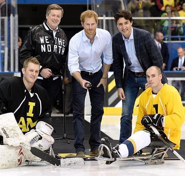 Prince Harry at a Sledge hockey exhibition game at Ryerson University's Mattamy Athletic Centre with Justin Trudeau. May 2, 2016