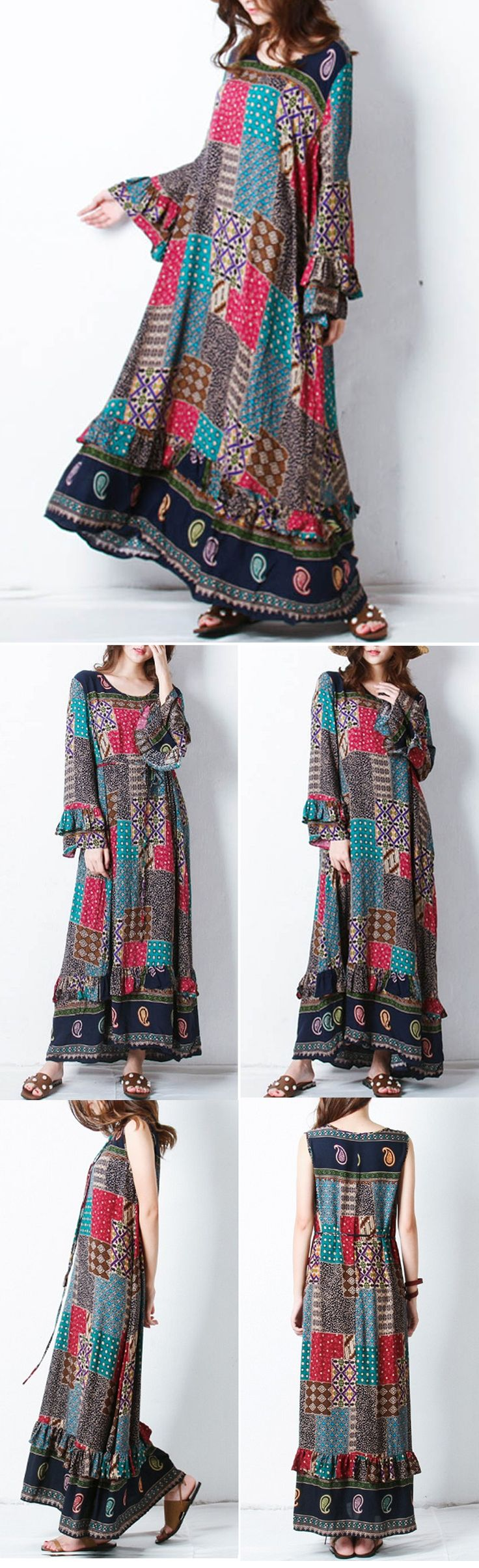 48% OFF! US$24.00 Only Plus Size Women Bohemian Printed Long Sleeve Maxi Dresses SHOP NOW!!!