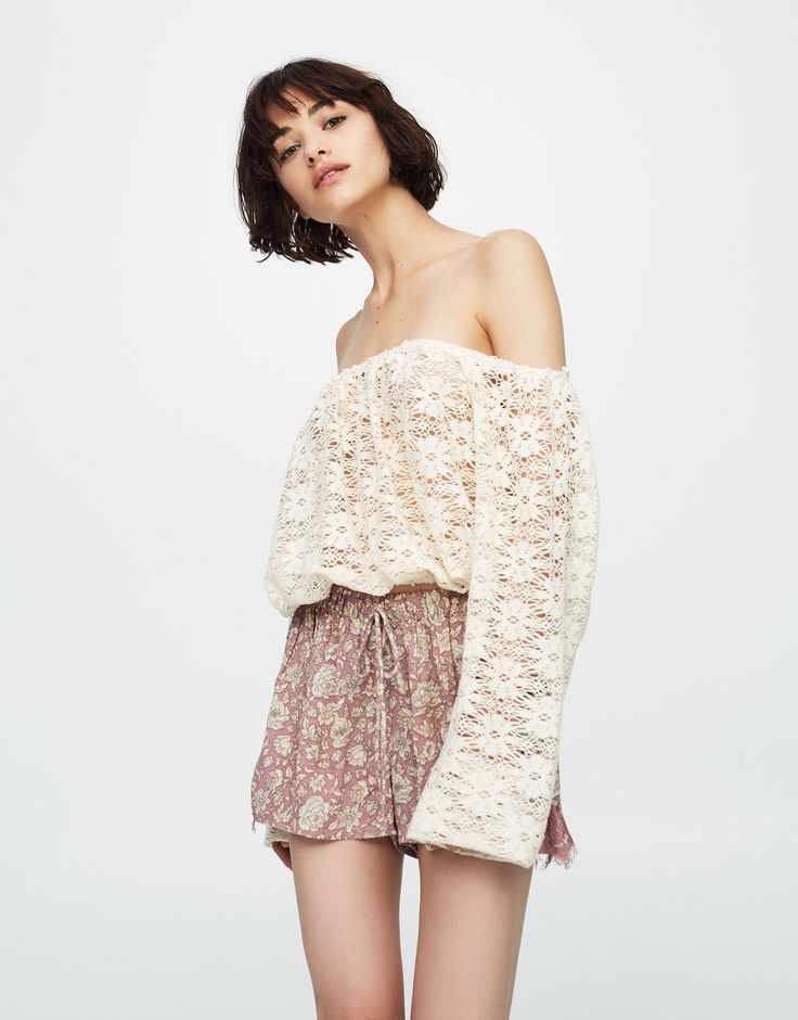 Pull&Bear - femme - vêtements - maille - crop top crochet manches longues - écru - 09557313-I2017