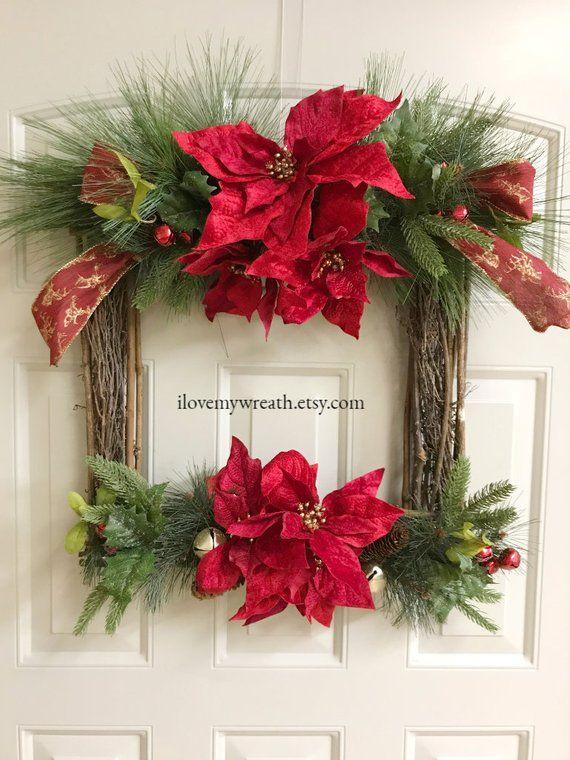 Square Poinsettia Wreath Square Christmas Wreath Jingle Bell Wreath Unique Holiday Wreath Poinsettia Dec Poinsettia Decor Christmas Wreaths Holiday Wreaths