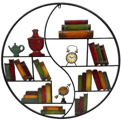 CONTEMPORARY 'OLDE WORLD BOOK SHELF '  METAL WALL ART