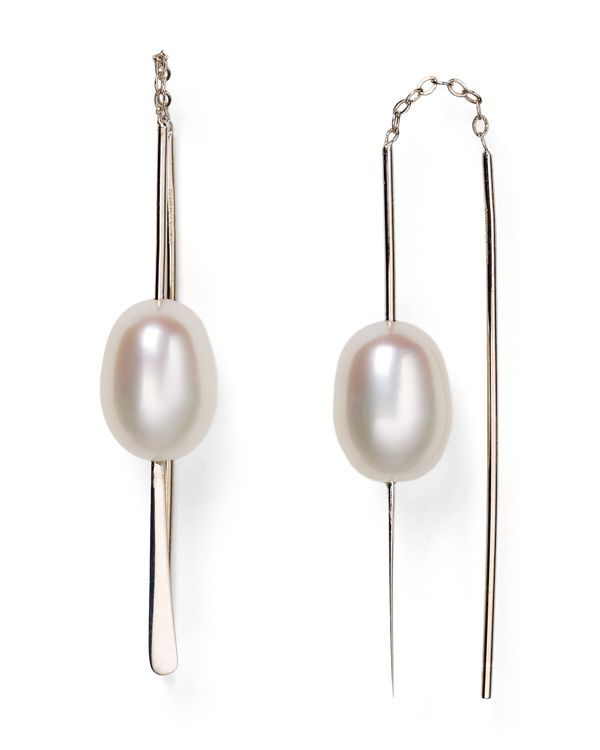 """Sterling silver pierces cultured freshwater pearls on Nancy B's date night–ready earrings.   Made in USA   1.5"""" drop   Pull-through backs   9mm cultured freshwater pearl   Sterling silver/cultured fre"""